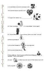 English worksheet: picture activity for conversation by using pics as prompts