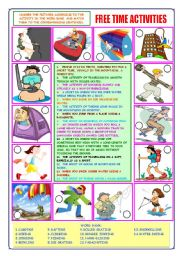 English Worksheets: FREE TIME ACTIVITIES