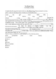 English Worksheet: The Whales� Song cloze activity