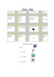 English Worksheet: City map to practice directions