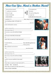 English Worksheet: How Can You Mend a Broken Heart? Bee Gees listening dictation