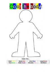 English Worksheets: Color the body