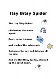 English Worksheet: Itsy Bitsy SPider