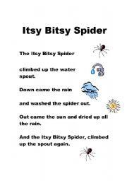 English Worksheet: Itsy Bitsy SPider