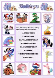 English Worksheet: Holidays and celebrations  :  Disney Characters