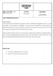 English Worksheets: performance task