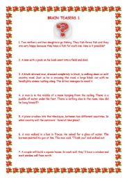 English Worksheets: brainteasers 1 with key