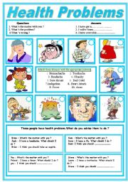 English Worksheet: Health Problems and HealthTips