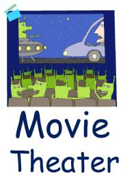 English Worksheets: Movie theater Flashcard