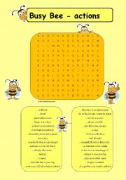 English Worksheet: Busy Bee - actions
