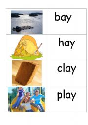 English Worksheets: word /picture cards containing �ay� phonics