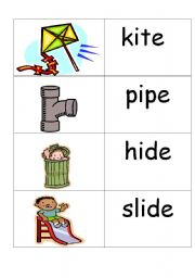 English Worksheets: word /picture cards containing �i-e� phonics