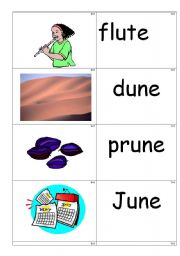 word /picture cards containing ´u-e´ phonics