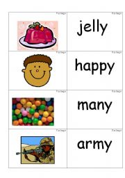 English Worksheets: word /picture cards containing �y� as in jelly phonics