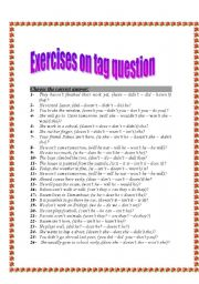 English Worksheets: Exercises on tag question