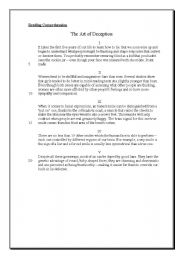 English Worksheets: The Art of Deception - reading comprehension