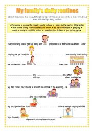 English Worksheets: my family�s daily routines