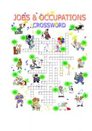 English Worksheet: Jobs & Occupations CROSSWORD