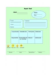 English Worksheets: REPORT CARD