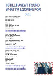 English Worksheets: Song - I still haven´t found what I´m looking for