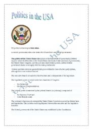 English Worksheet: Politics in the USA