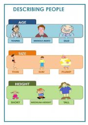 English Worksheets: DESCRIBING PEOPLE - AGE, SIZE AND HEIGHT