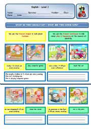 English Worksheet: WHAT DO THEY USUALLY DO? / WHAT ARE THEY DOING NOW? - PART II