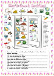 English Worksheet: What is there in the fridge? (1)