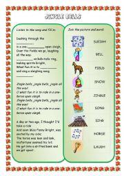 English Worksheet: Christmas songs and carols (set) - JINGLE BELLS