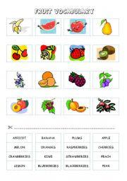 English Worksheet: FRUIT (cut and paste) - part 5