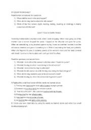 English Worksheets: semantic field