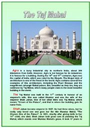 English Worksheet: The Taj Mahal Reading Comprehension