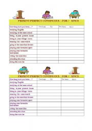 English Worksheet: For and Since  Pairwork about the present Perfect Continuous