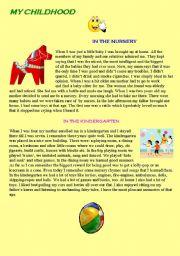 English Worksheets: my childhood