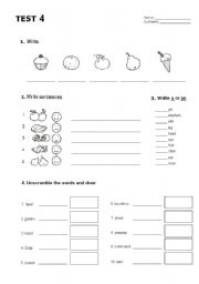 English Worksheet: Happy Street 1 - unit 4 test