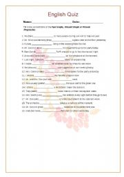 English worksheet: quiz - Past Simple, Present Simple or Present Progressive: