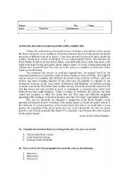 English Worksheet: test on British culture (monarchy)