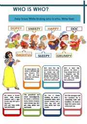 English Worksheet: DESCRIBING PEOPLE - WHO IS WHO?