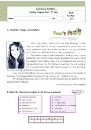 English Worksheets: Pam�s family - reading comprehension for Upper Elementary / Lower Intermediate Students