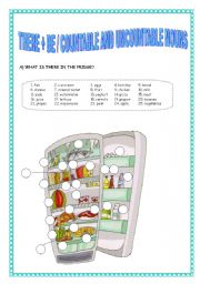 English Worksheets: there + be / countable and uncountable nouns