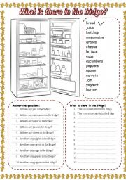 English Worksheet: What is there in the fridge? (2)