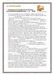 English Worksheets: At the restaurant - reading - writing -  speaking