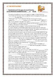 English Worksheet: At the restaurant - reading - writing -  speaking