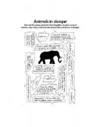English Worksheets: animals in danger