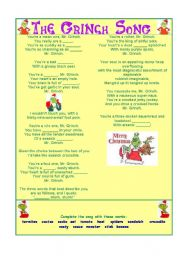 english worksheet the grinch song - Grinch Christmas Song