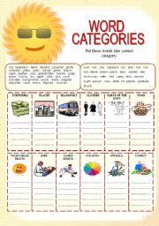 english worksheets vocabulary word categories 1 of 2. Black Bedroom Furniture Sets. Home Design Ideas