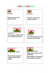 English worksheet: quizz cards about Wales