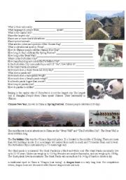 English Worksheet: China - text & questions about China