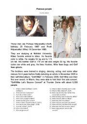 English Worksheet: Famous people - Thailand - singer