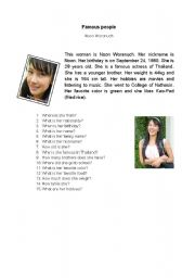English Worksheet: Famous people - Thailand - actress
